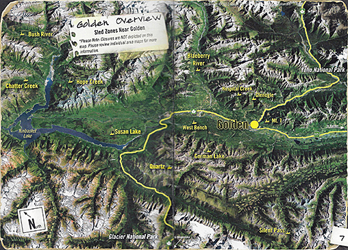 Golden, BC snomobiling map