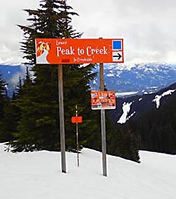 Whistler Peak2Creek trail sign